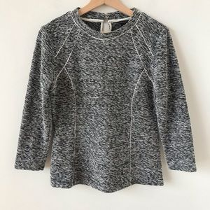 Ann Taylor salt and pepper fitted sweater top